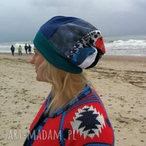 etno czapka turban wywinięta kolorowa