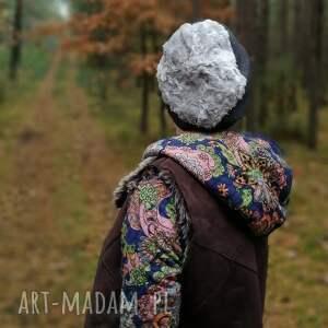 handmade czapki czapka unisex szara dzianina miękka