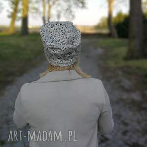 czapki wiosna czapka w kolorze srebrnym koronkowa