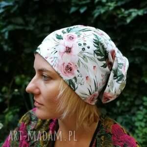 efektowne czapki czapka w kwiaty damska dzianina miękka - box