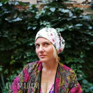 czapki floral czapka w kwiaty damska dzianina