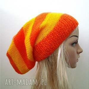 czapki delikatna czapka w pasy pomarańczowo