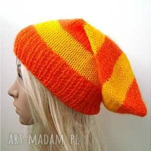 wyjątkowe czapki delikatna czapka w pasy pomarańczowo