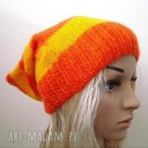 delikatna czapki oryginalna czapka w pasy żółto - pomarańczowe