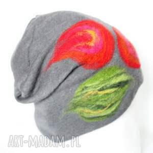 wyjątkowe czapki czapka wełniana damska szara