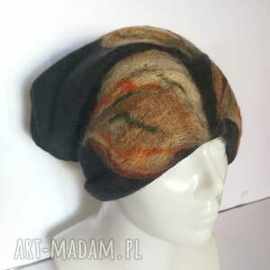 ręcznie wykonane czapki czapka wełniana filcowana czarna