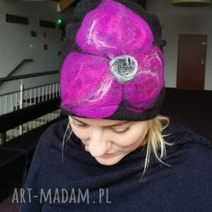 czapki czapka wełniana filcowana czarna zimowa