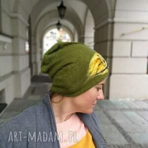 czapki czapka wełniana filcowana zielona