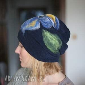 awangardowe czapki czapka wełniana damska granat