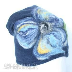 eleganckie czapki czapka wełniana damska granat