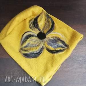 czapki: czapka wełniana filcowana wełną merynosów - etno boho
