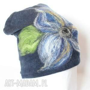 czapki etno czapka wełniana damska granat - kod produktu