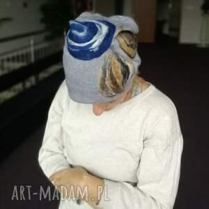 eleganckie czapki etno czapka wełniana filcowana szara