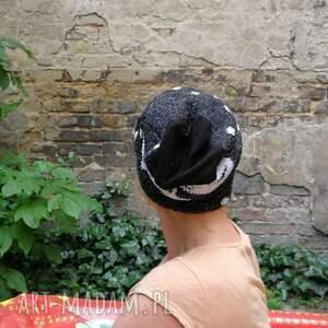 czapki etno czapka wełniana biało - czarna