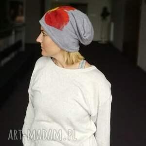 kolorowe czapki czapka wełniana filcowana szara