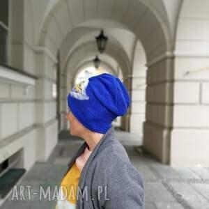 czapki filc czapka wełniana filcowana niebieska
