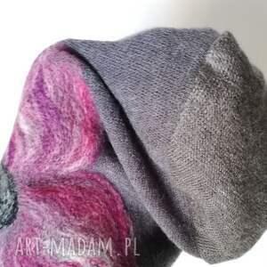 niepowtarzalne czapki wełna czapka wełniana filcowana szara