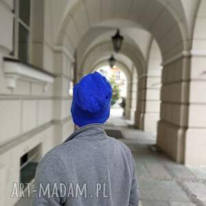 czapki wełna czapka wełniana filcowana niebieska