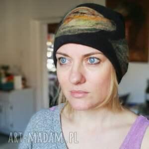 eleganckie czapki wełna czapka wełniana damska czarna