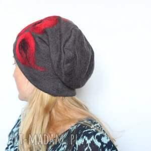 ciekawe czapki wełna czapka wełniana filcem ozdabiana