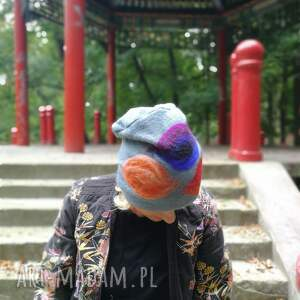 handmade czapki wełna czapka wełniana filcowana niebieska