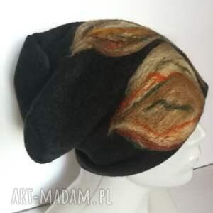 czapki wełna czapka wełniana filcowana czarna