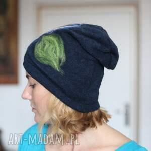 ręcznie robione czapki wełna czapka wełniana damska granatowa