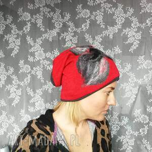 etno czapki czapka wełniana filcowana czerwona