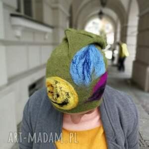 ręczne wykonanie czapki zimowa czapka wełniana filcowana zielona