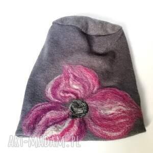 czapki zimowa czapka wełniana filcowana szara