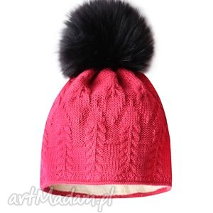 czarne czapki czapka z futrzanym pomponem