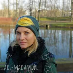 czapka czapki zielona wełniana handmade na podszewce