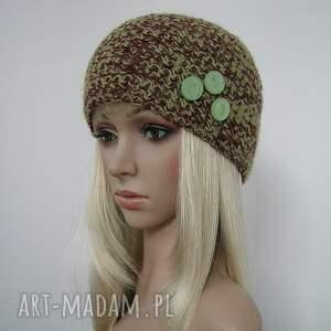 oryginalne czapki czapka zielono brązowa z ozdobnymi