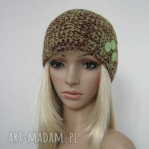 zielone czapki czapka zielono brązowa z ozdobnymi