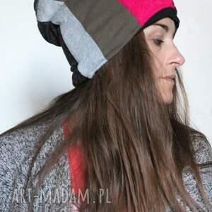 Ruda Klara czapki: czapka zimowa patchworkowa ciepła damska - zima gruba