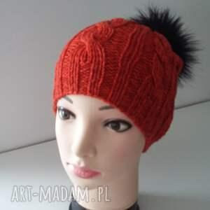 pompon czapki czapka zimowa z dużym pomponem