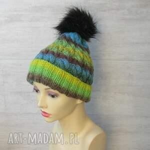 turkusowe kolorowa czapka zimowa z pomponem unisex