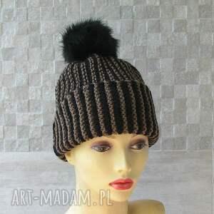 brązowe czapki czapka zimowa z pomponem