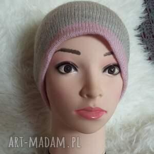 ciekawe czapki druty oryginalna, podwójna czapka zimowa, wykonana