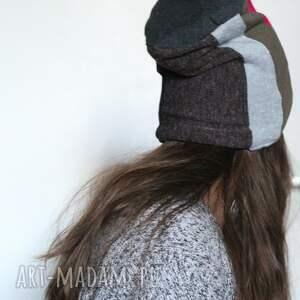 czapki: czapka zimowa patchworkowa ciepła damska - zima