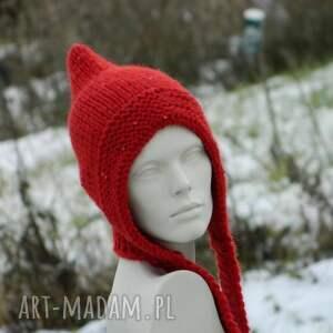 czapki cekiny czerwony kapturek * czapa elf
