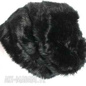 czapki damska futrzana czapka czarna