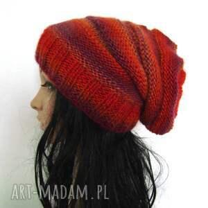 fioletowe czapki czapeczka długa czapka w czerwieniach