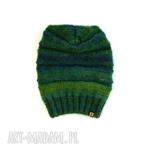czapki komplet długa czapka w zieleniach