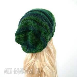 eleganckie czapki komplet długa czapka w zieleniach