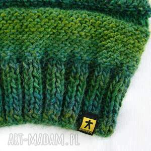 komplet czapki długa czapka w zieleniach