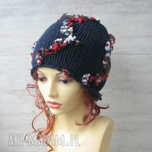 AlbaDesign Duża czapka ręcznie robiona - wykonane wełniana