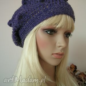 czapki: Fioletowy beret z bąbelkami - Hand Made