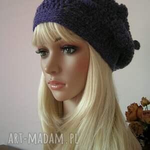 fioletowe czapki beret fioletowy z bąbelkami