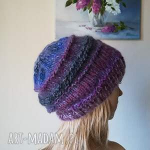 handmade czapki zima fiolety w jedwabiu